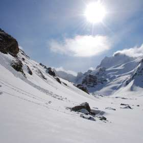 Caucasus valley skiing