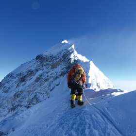 Looking up to summit Prakash Sherpa