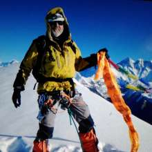 Mike on summit by Kancha Sherpa