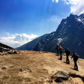 Trekking down towards Dingboche Nepal. Photo Caroline Ogle